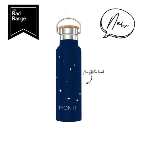 Montii Co Midnight Glitter ~  Insulated Bottle 600ml ( NEW )