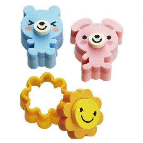 Cute Bear, rabbit and flower sandwich cutter and stamp set