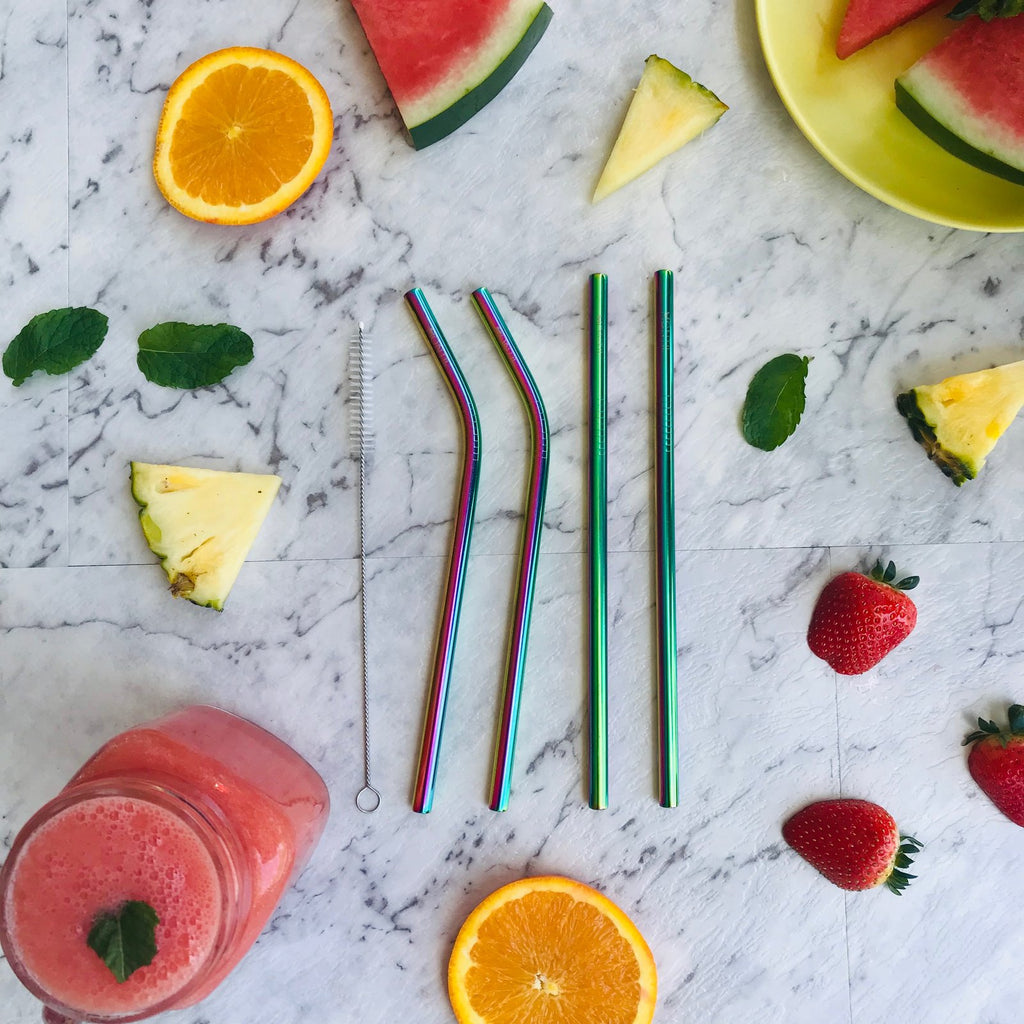 Montii Co Reusable Rainbow Straws ( 4 Pack) ~ Stainless Steel