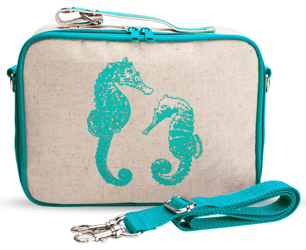 So Young Insulated lunch box -AQUA SEAHORSES  - Raw Linen ( NEW)