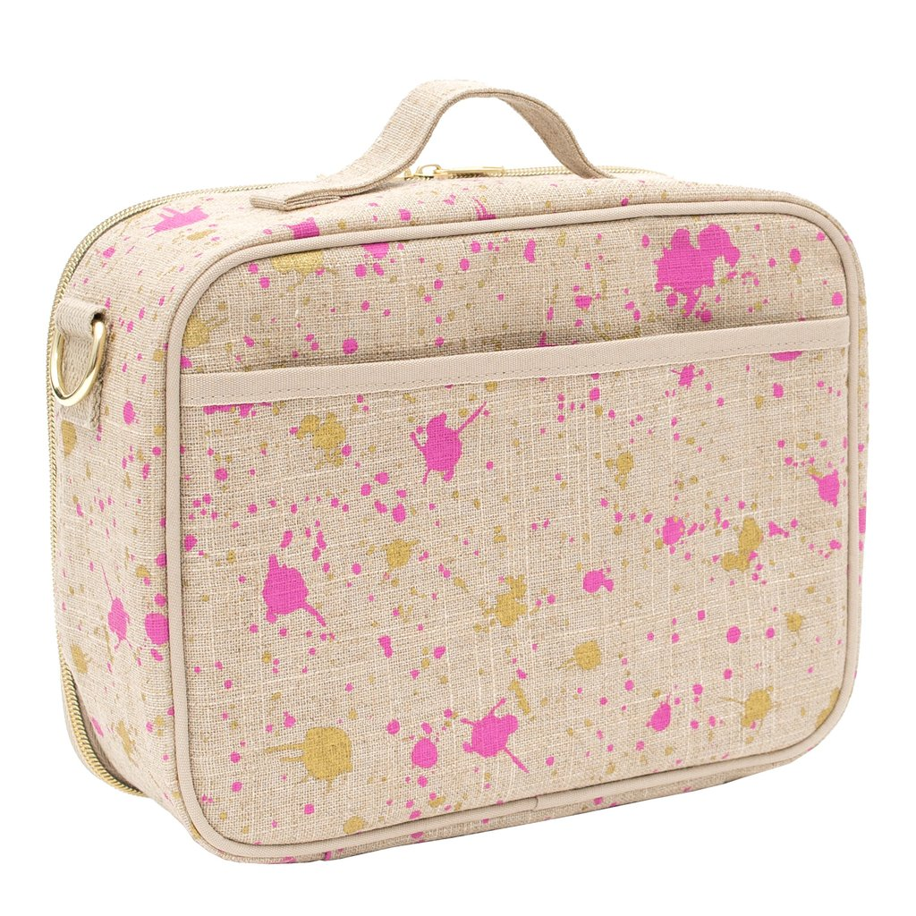 So Young Insulated lunch box -LINEN - FUCHSIA AND GOLD SPLATTER LUNCH BOX  ( NEW)