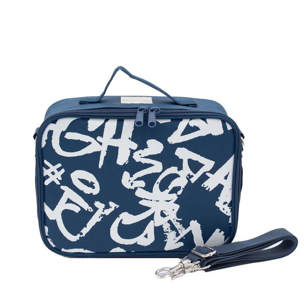 So Young Insulated lunch box - Navy Paper Graffiti ~ NEW