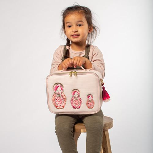 So Young Insulated lunch box -Embroidered Dolls ~ NEW