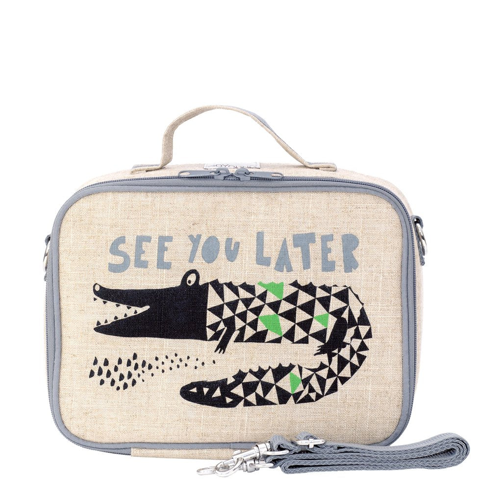 So Young Insulated lunch box -Wee Gallery Alligator - Raw Linen ( NEW)
