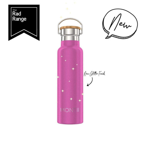 Montii Co Bright Pink Glitter ~  Insulated Bottle 600ml ( NEW )