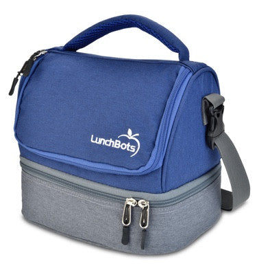 LunchBots Duplex Lunch Bag - Gray and blue