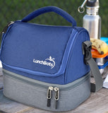 LunchBots Duplex Lunch Bag - Gray and blue ( NEW design)