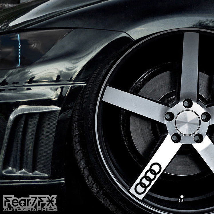 5x Audi Rings Alloy Wheel Vinyl Transfer Decals