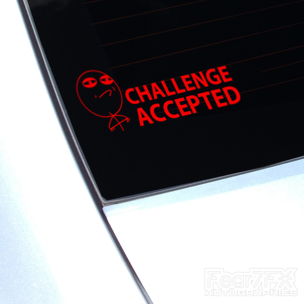Challenge Accepted Funny Euro Decal Sticker