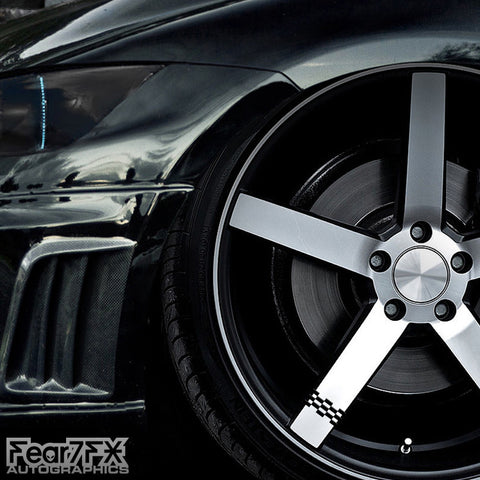 5x Checkered Racing Alloy Wheel Decals
