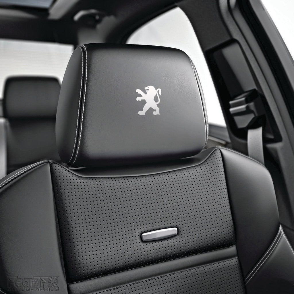 6x Peugeot Lion Car Seat Headrest Vinyl Decals