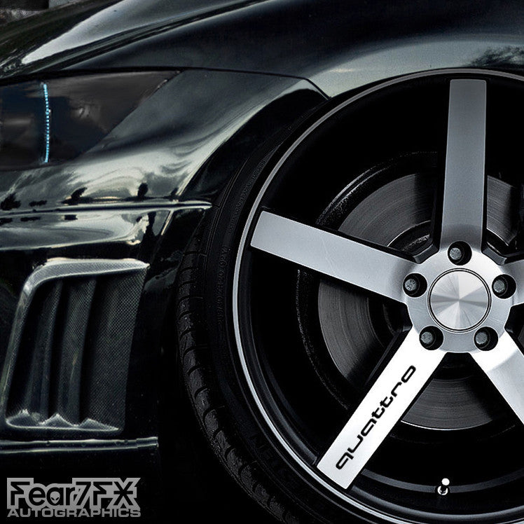 5x Quattro Alloy Wheel Vinyl Transfer Decals