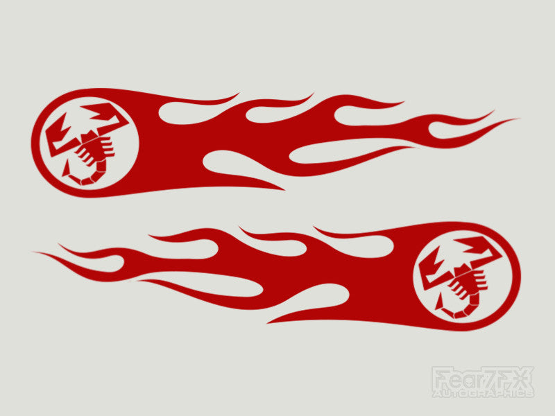 2x Abarth Flames Custom Vinyl Transfer Decals