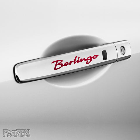 4x Berlingo Door Handle Vinyl Transfer Decals