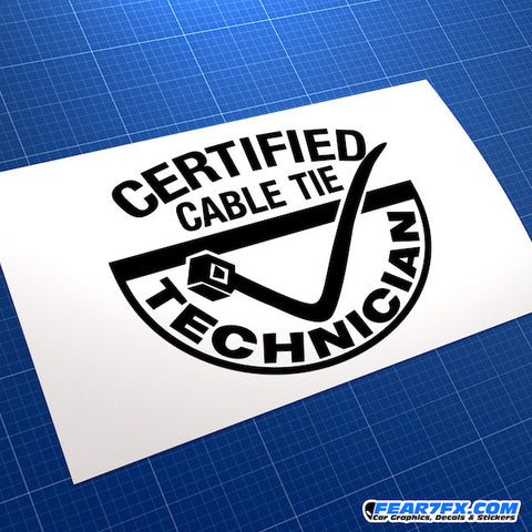Cable Tie Technician Funny JDM Car Vinyl Decal Sticker