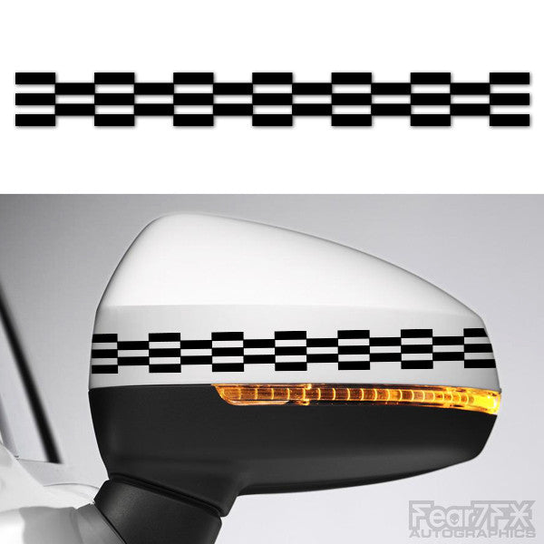 2x Checkered Flag Side Mirror Vinyl Transfer Decals