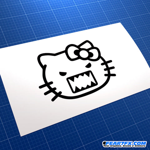 Hello Kitty Evil Domo Kun Style Vinyl Decal Sticker