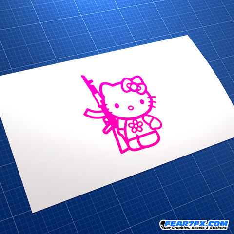 Hello Kitty With Rifle Vinyl Decal Sticker