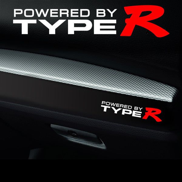 2x Type R Dashboard Powered By Vinyl Decal