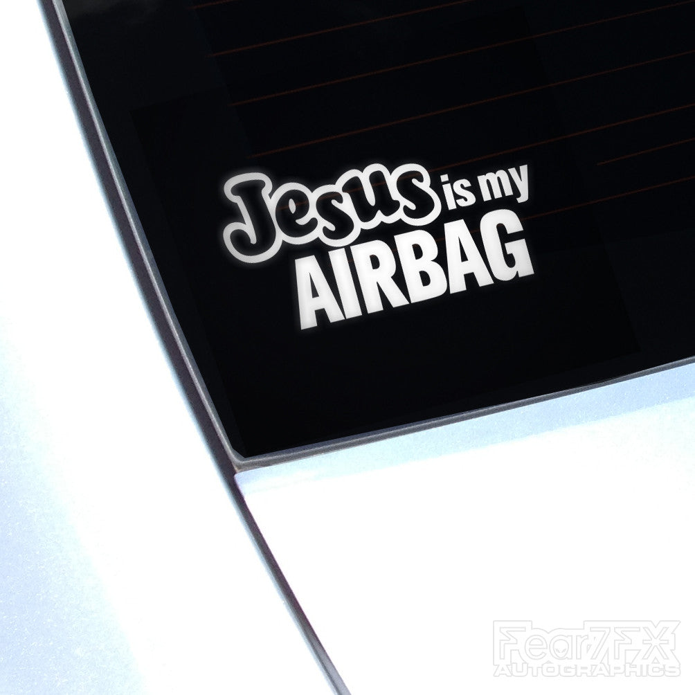 Jesus Is My Airbag Funny Euro Decal Sticker