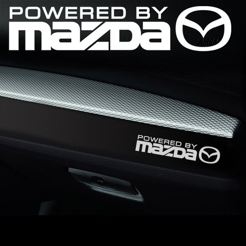 2x Mazda V2 Dashboard Powered By Vinyl Decal