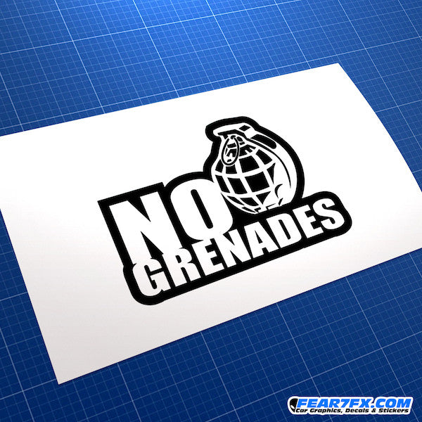 No Grenades Funny JDM Car Vinyl Decal Sticker
