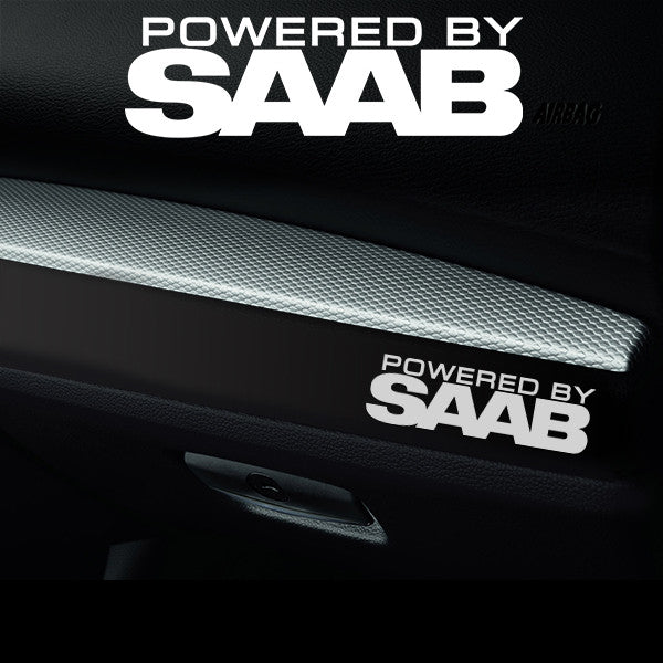 2x Saab Dashboard Powered By Vinyl Decal