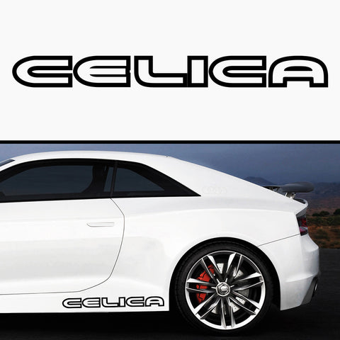 2x Toyota Celica Outline 3D Side Skirt Vinyl Decal