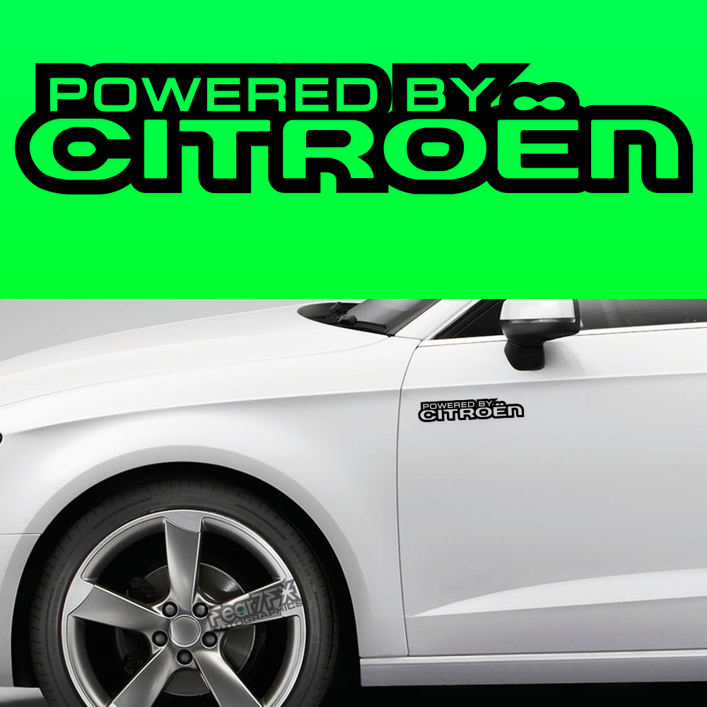 2x Powered By Citroen V2 Body Part Decal