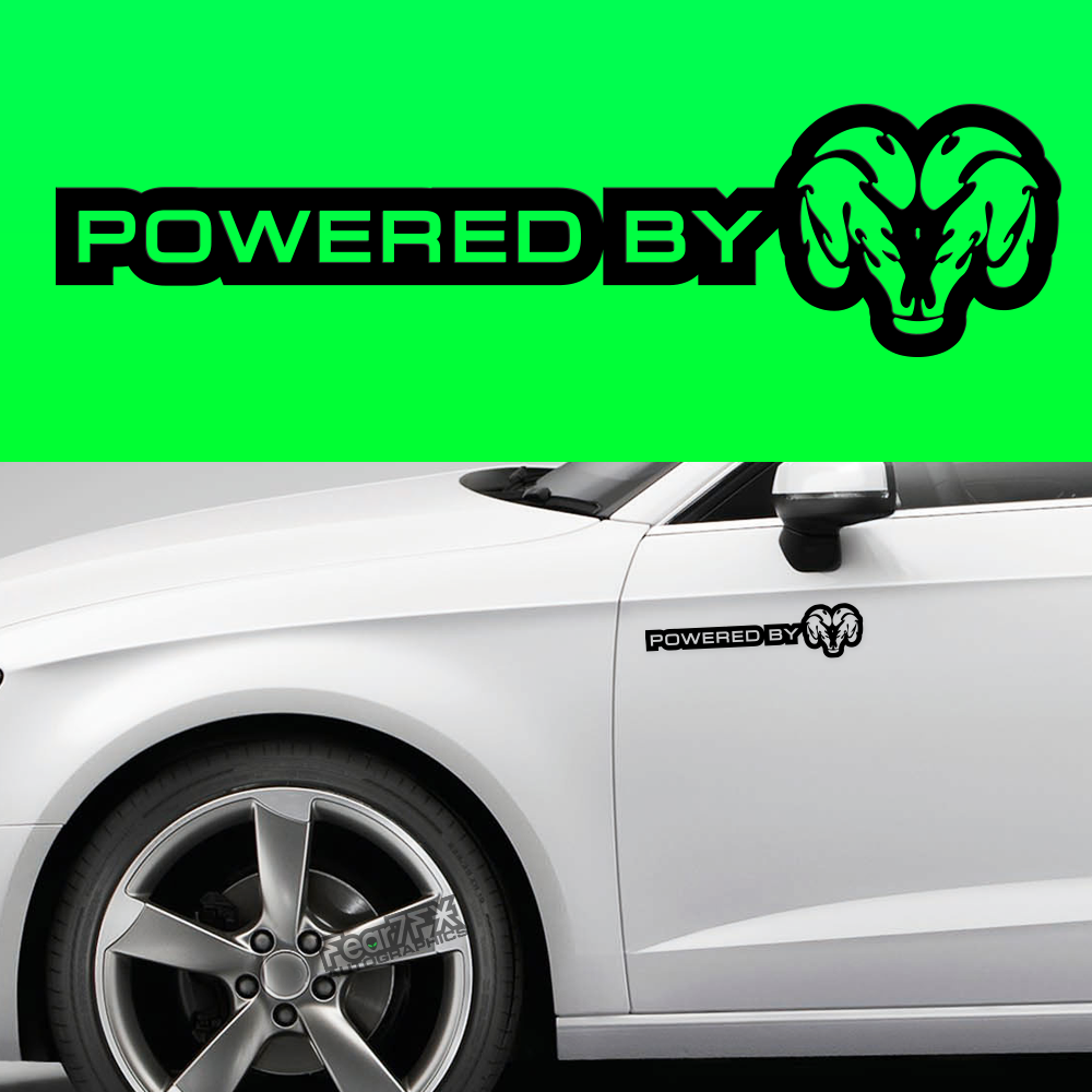 2x Powered By Dodge Body Part Decal