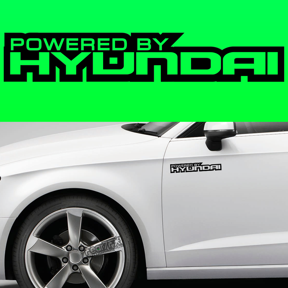 2x Powered By Hyundai Body Part Decal