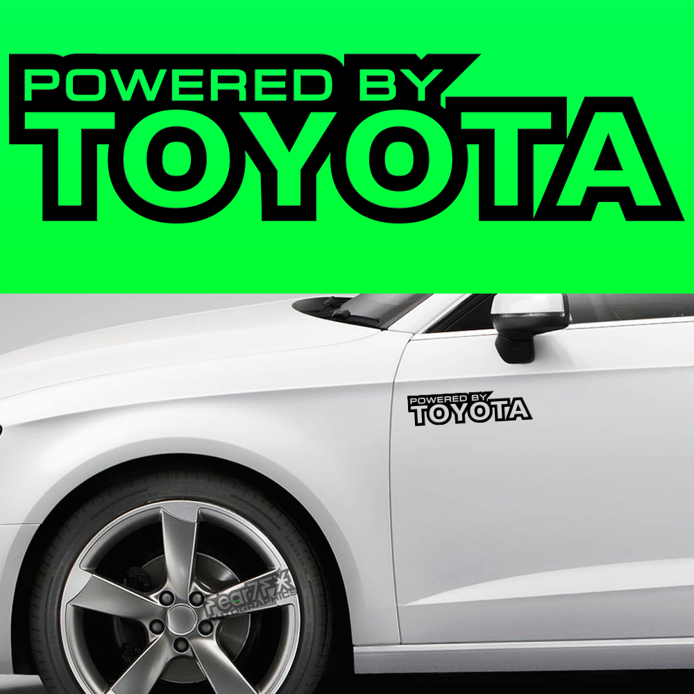 2x Powered By Toyota Body Part Decal
