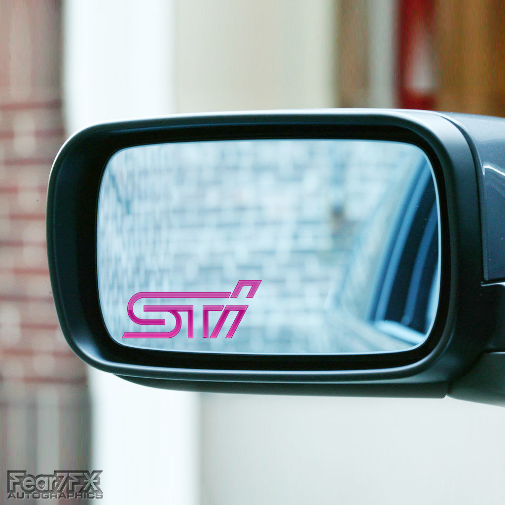 2x STI Logo Wing Mirror Vinyl Transfer Decals