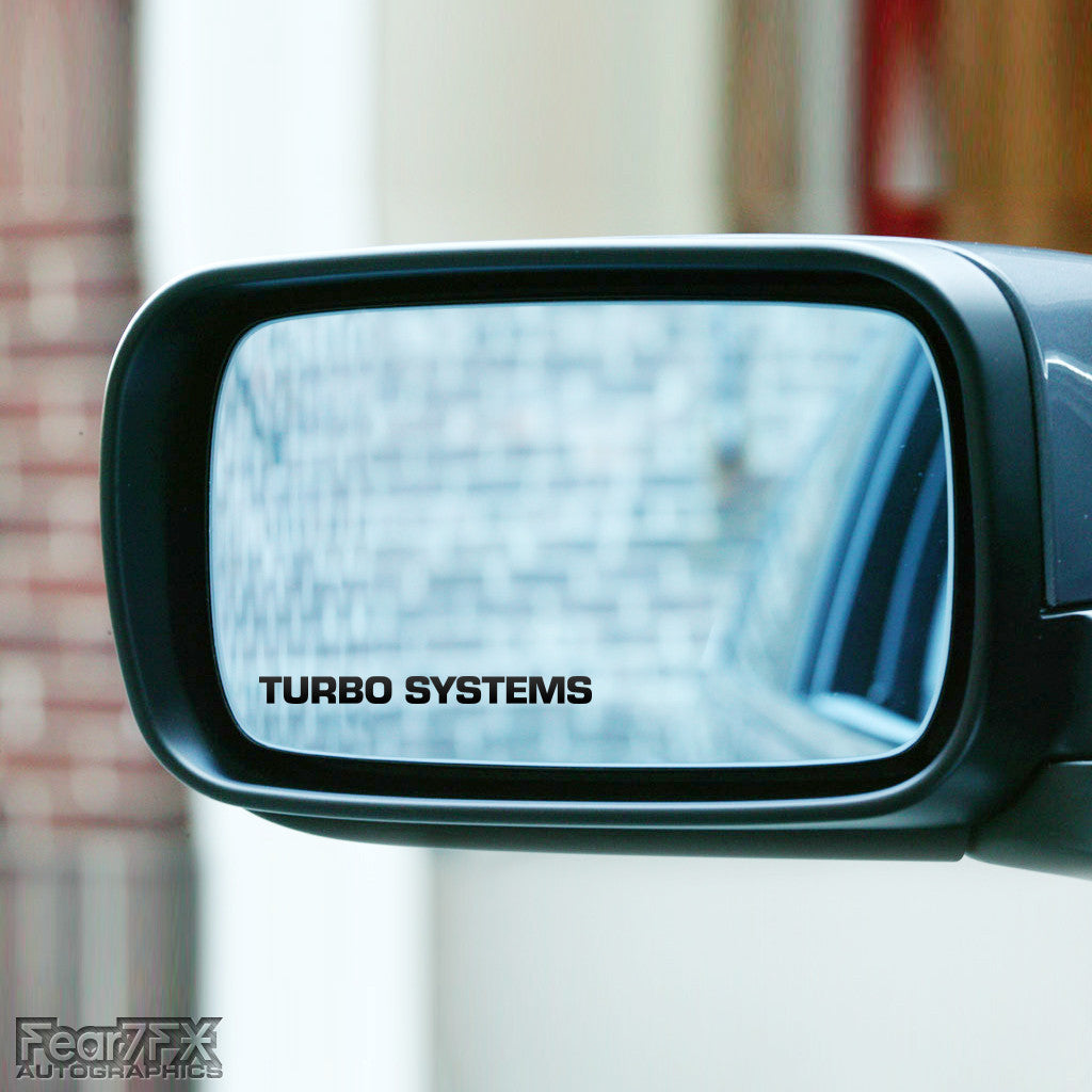2x Turbo Systems Wing Mirror Vinyl Transfer Decals