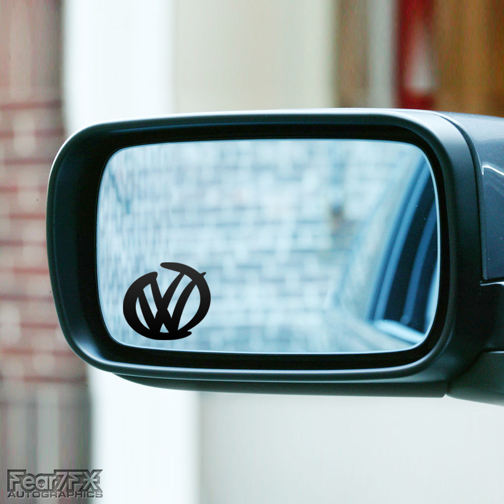 2x VW Rare Logo Wing Mirror Vinyl Transfer Decals