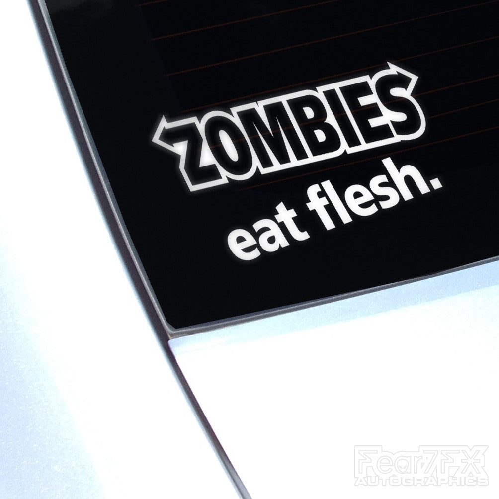 Zombie Eat Flesh Funny Euro Decal Sticker V2