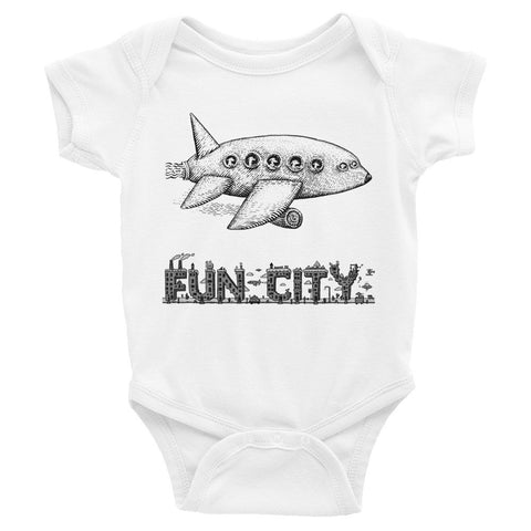 FUN CITY DOGS ON A PLANE Infant Bodysuit