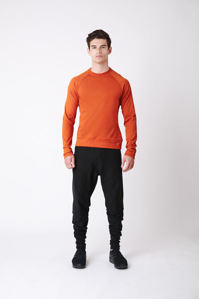 Core Long Sleeve - luxury cotton mens long sleeve t-shirt - orange