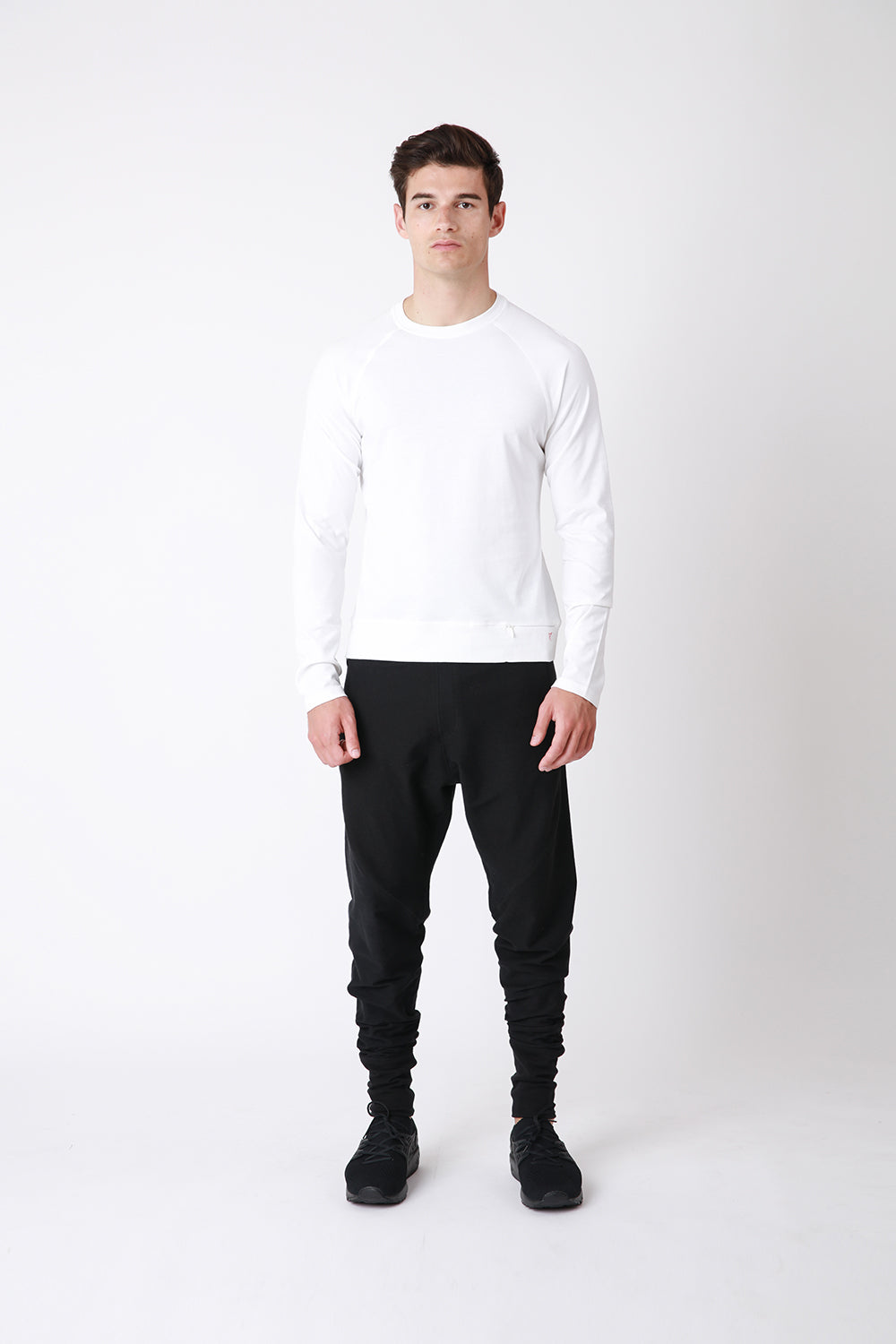 Core Long Sleeve - luxury cotton mens long sleeve t-shirt - white