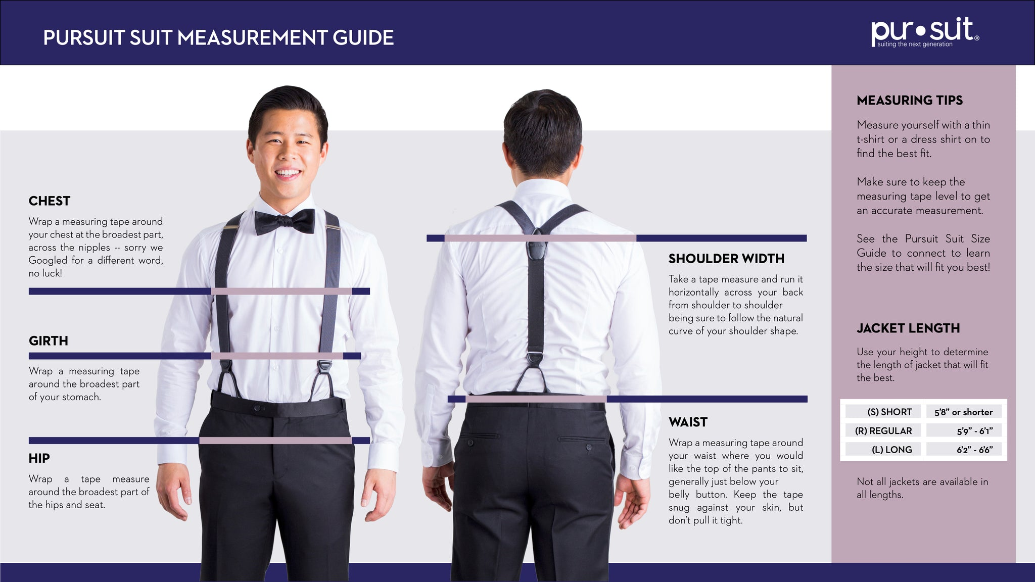 Pursuit Suit Measurement Guide