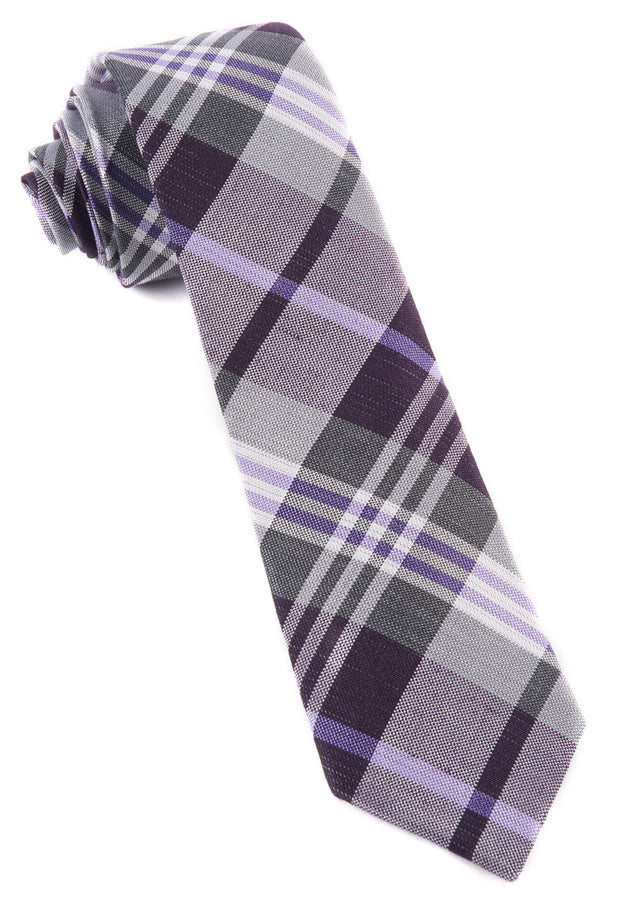 Eggplant Crystal Wave Plaid Tie