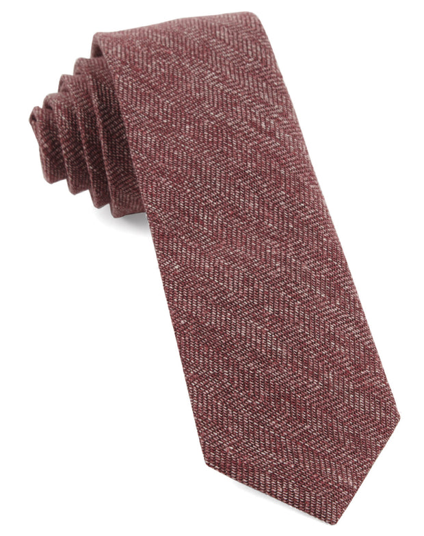 Raspberry Threaded Zig Zag Tie