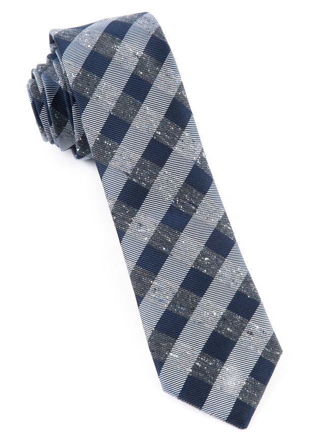 Deep Slate Blue Splattered Gingham Tie