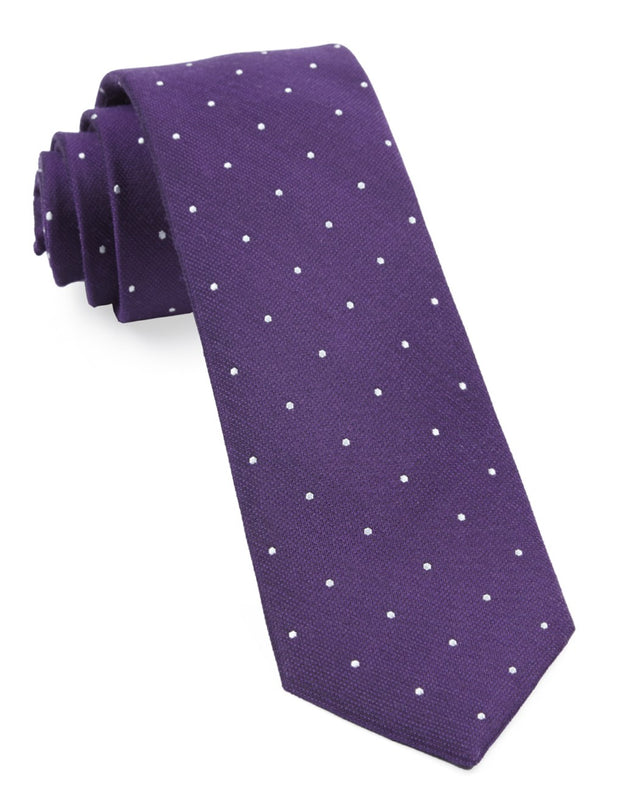 Plum Dotted Report Tie