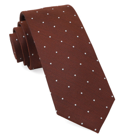 Burnt Orange Dotted Report Tie