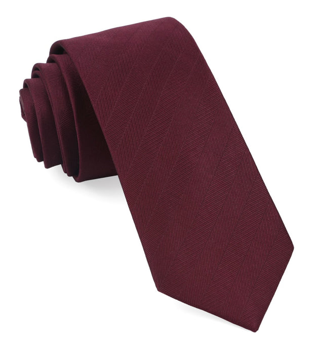 Wine Herringbone Vow Tie