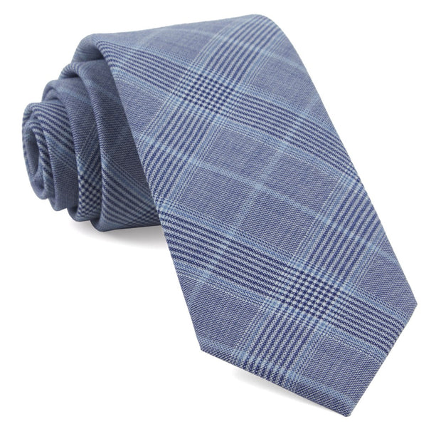 Light Blue Blue Line Plaid Tie