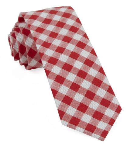 Red Trellis Plaid Tie