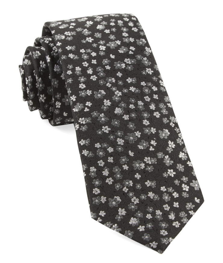 Black Free Fall Floral Tie
