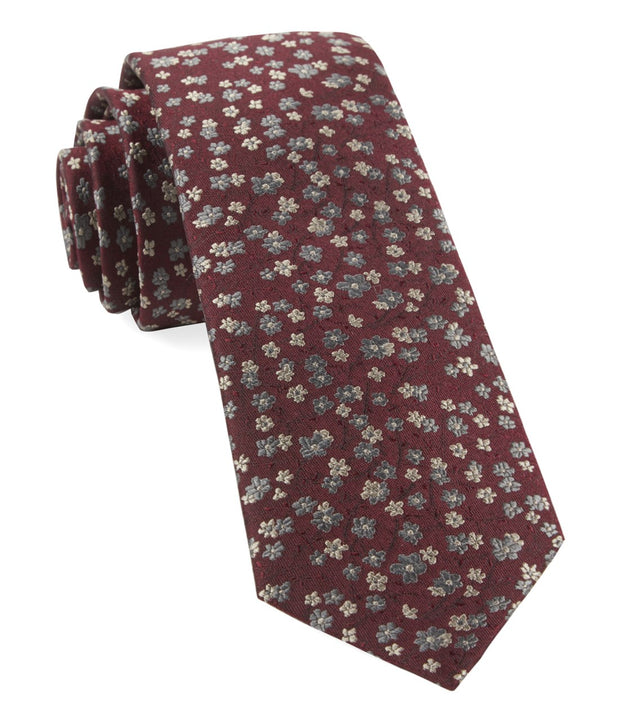 Burgundy Free Fall Floral Tie